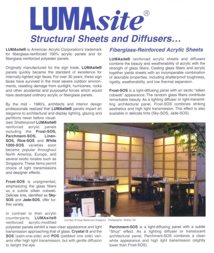 LumaSite Fiberglass Reinforced Acrylic Sheets FROM COMPLEX